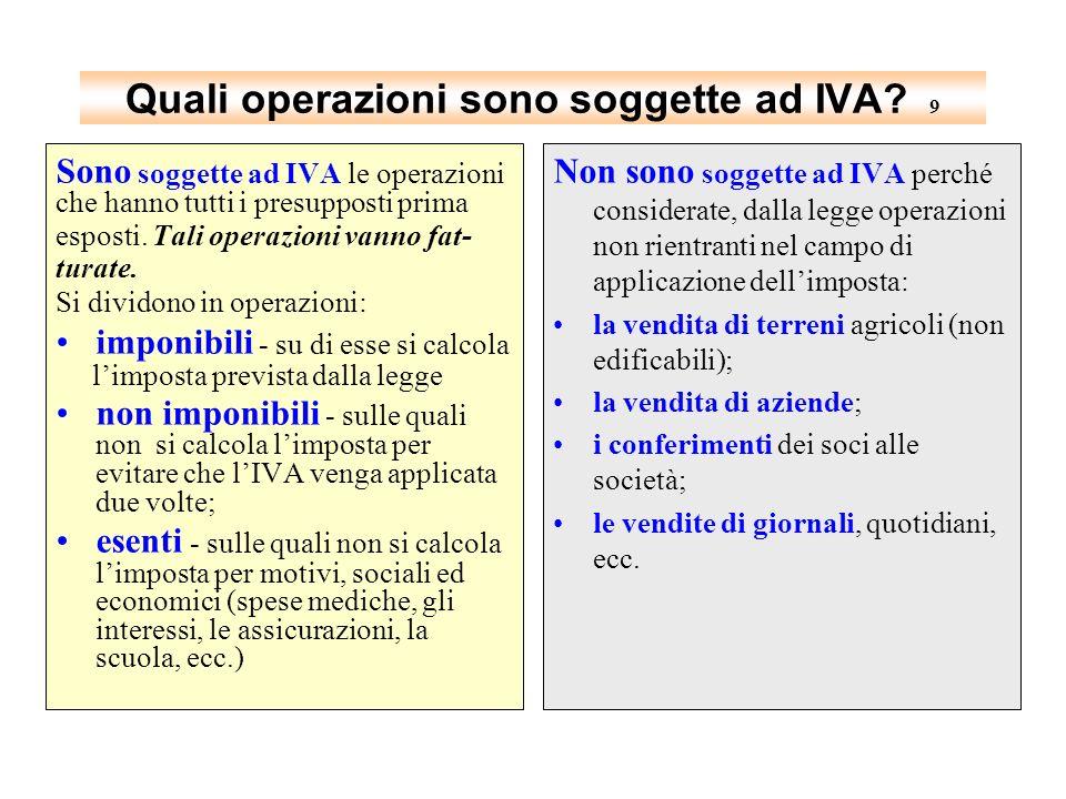 Quali operazioni sono soggette ad IVA 9