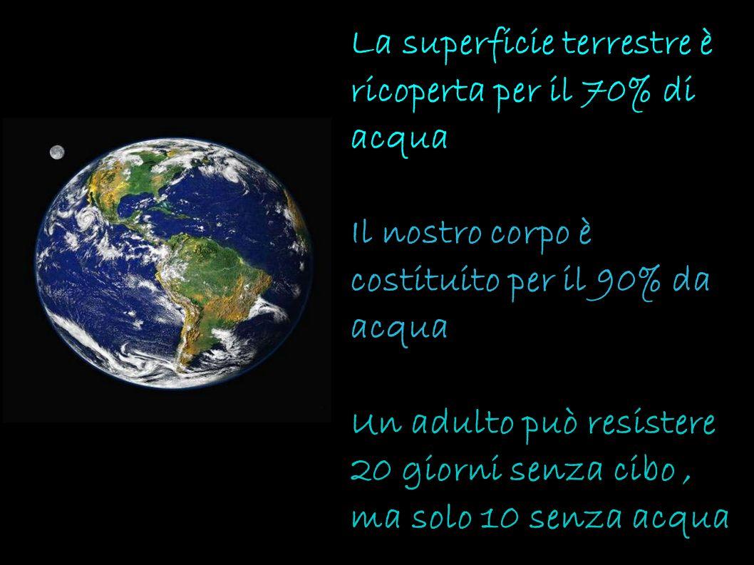 La superficie terrestre è ricoperta per il 70% di acqua Il nostro corpo è costituito per il 90% da acqua Un adulto può resistere 20 giorni senza cibo , ma solo 10 senza acqua