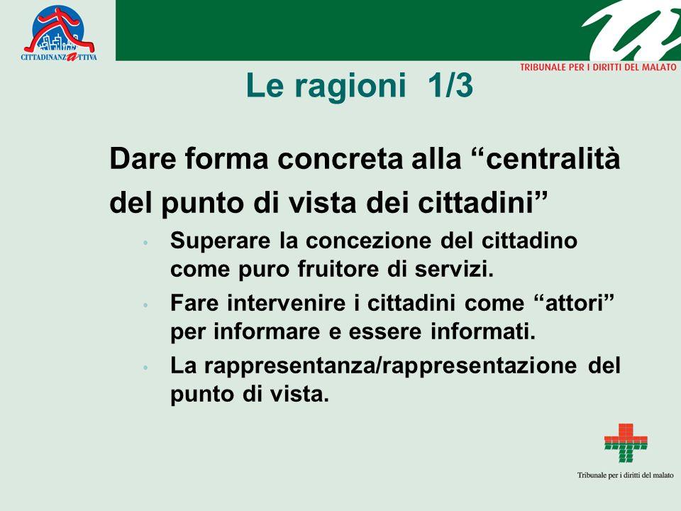 Le ragioni 1/3 Dare forma concreta alla centralità