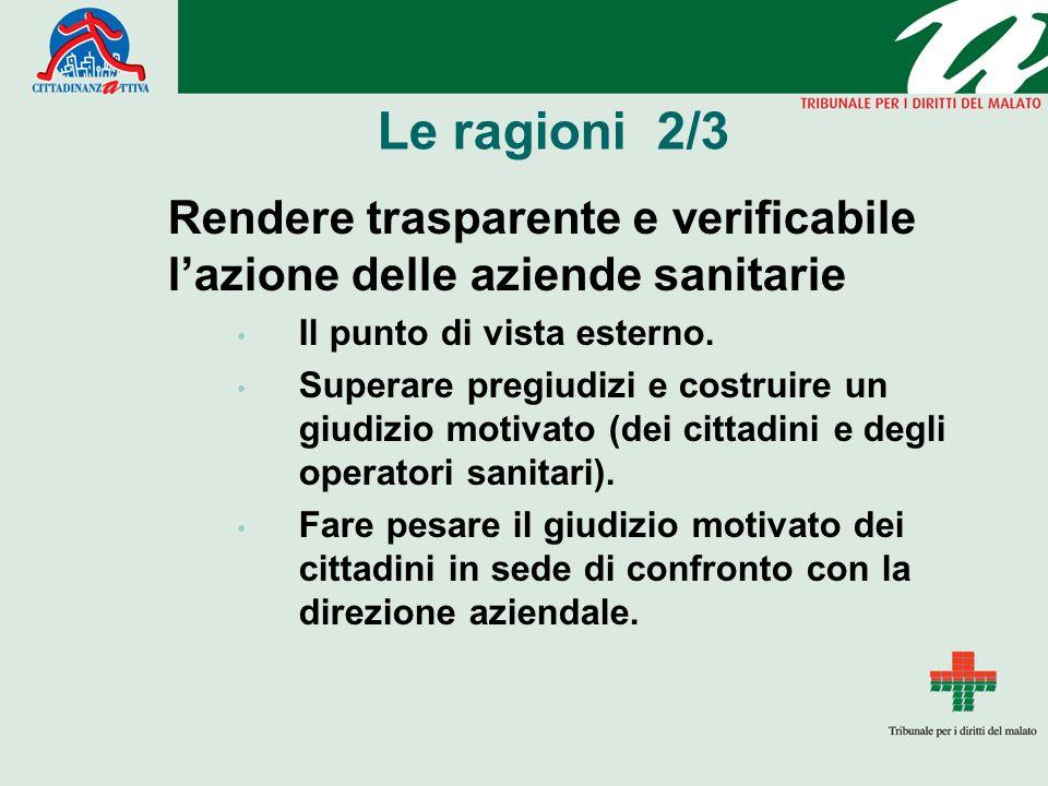 Le ragioni 2/3 Rendere trasparente e verificabile l'azione delle aziende sanitarie. Il punto di vista esterno.