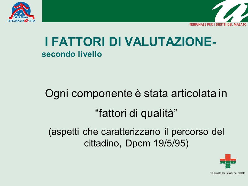 I FATTORI DI VALUTAZIONE- secondo livello