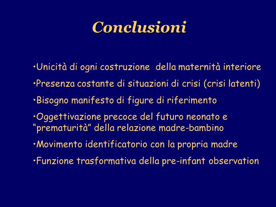 Conclusioni Unicità di ogni costruzione della maternità interiore