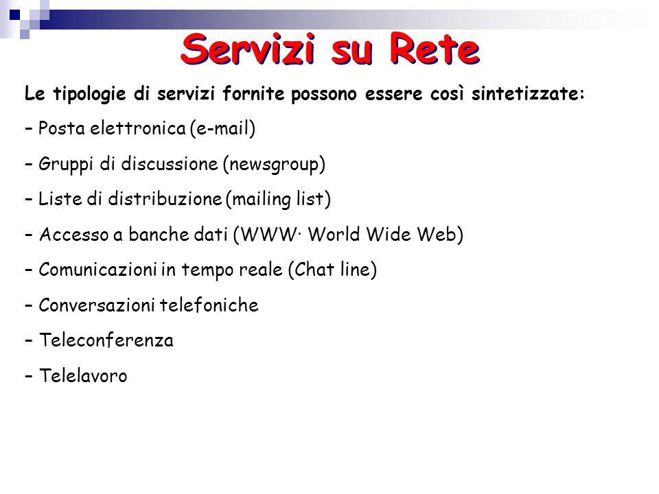 Servizi su ReteLe tipologie di servizi fornite possono essere così sintetizzate: – Posta elettronica (e-mail)