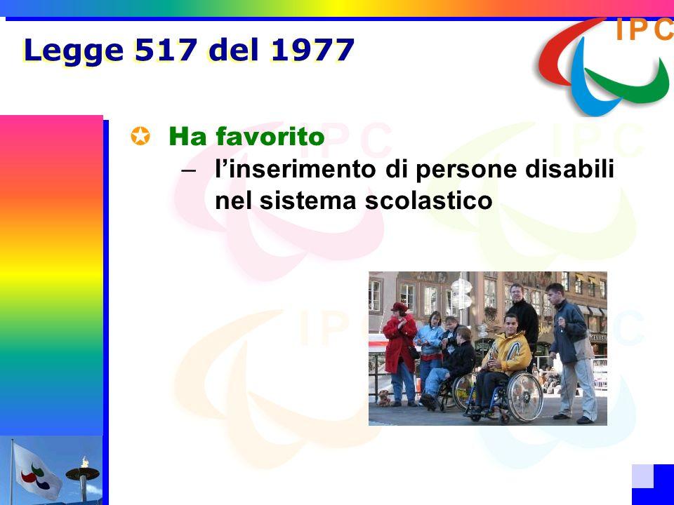 Legge 517 del 1977 Ha favorito l'inserimento di persone disabili nel sistema scolastico