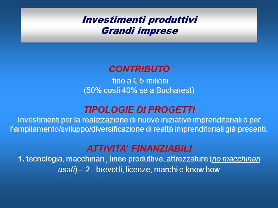 Investimenti produttivi Grandi imprese