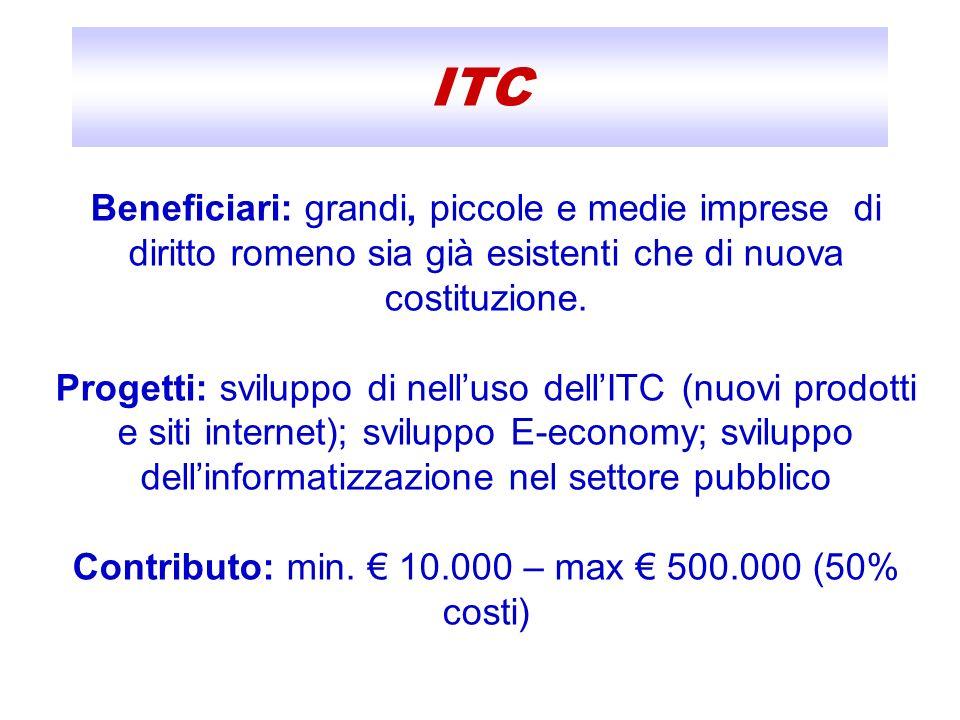 Contributo: min. € 10.000 – max € 500.000 (50% costi)