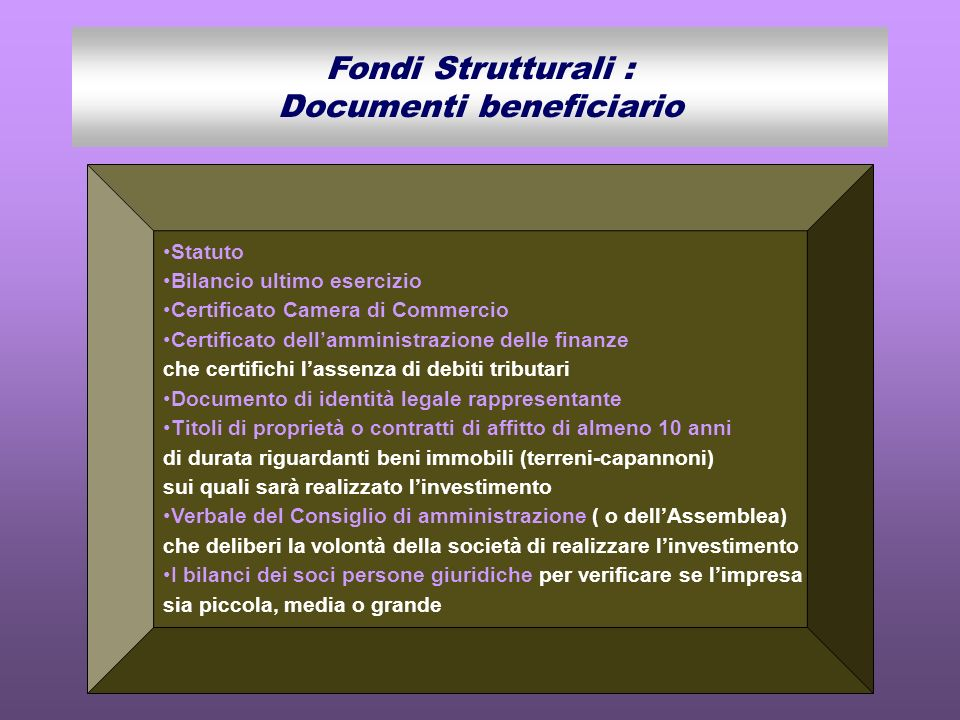 Fondi Strutturali : Documenti beneficiario
