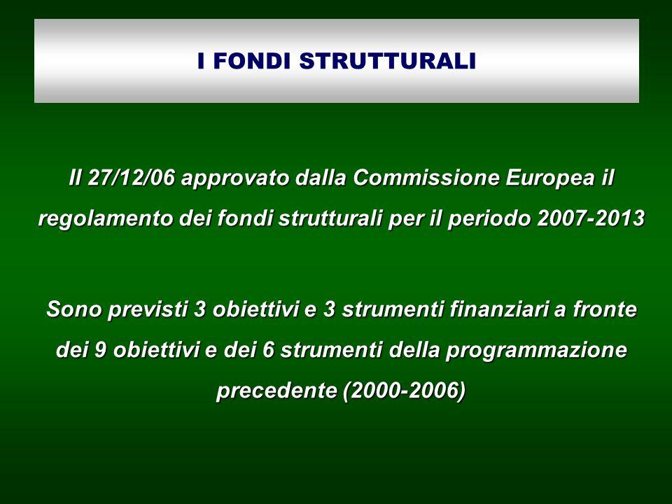 I FONDI STRUTTURALI Il 27/12/06 approvato dalla Commissione Europea il regolamento dei fondi strutturali per il periodo 2007-2013.