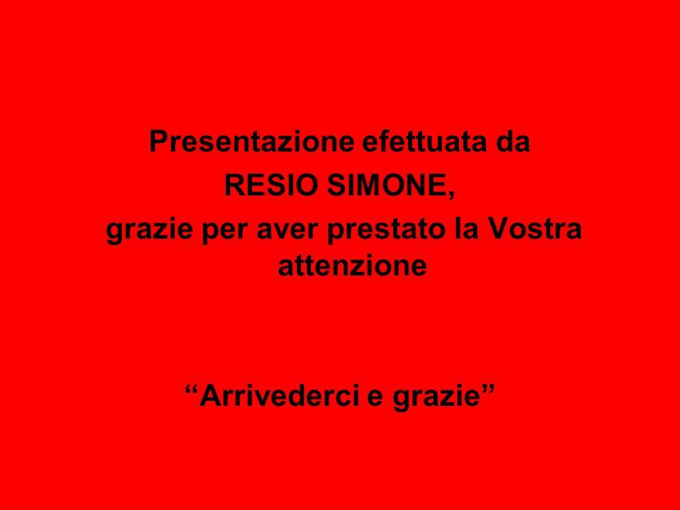 Presentazione efettuata da RESIO SIMONE,