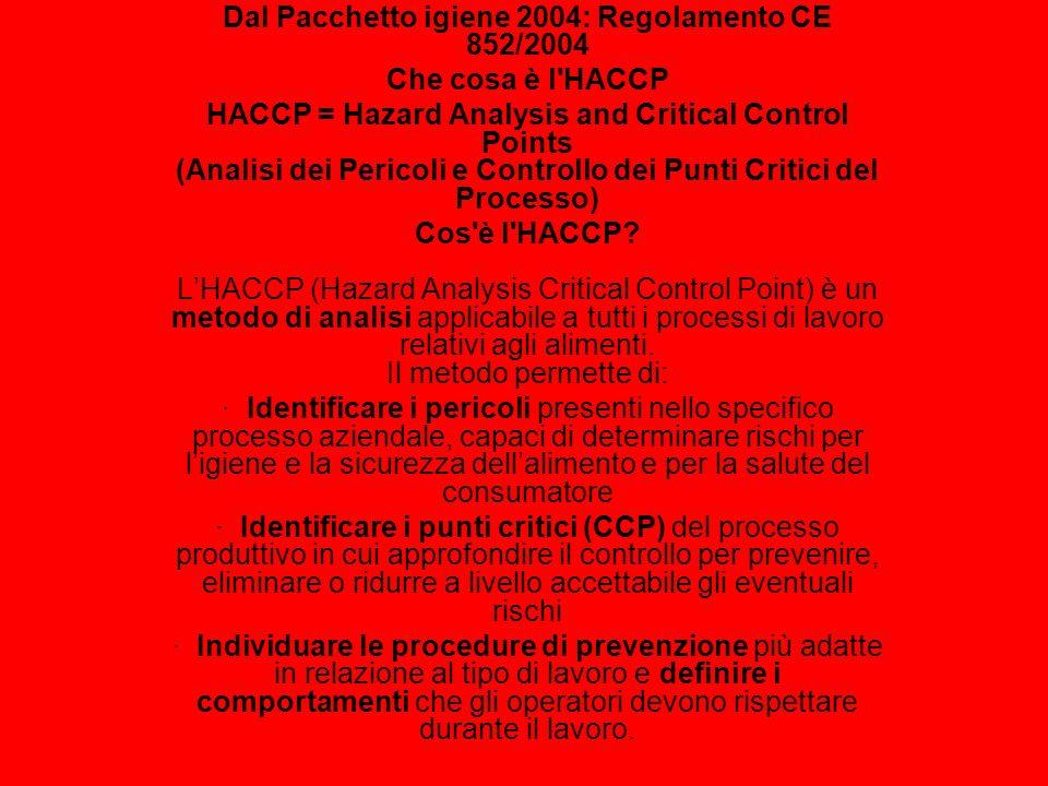 Dal Pacchetto igiene 2004: Regolamento CE 852/2004