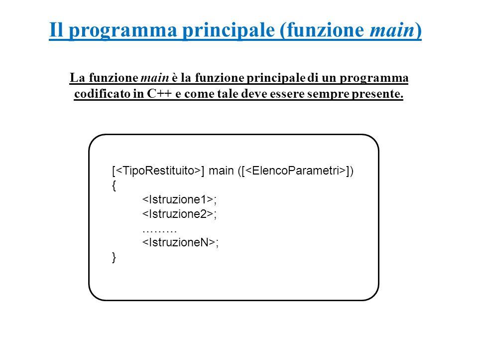 Il programma principale (funzione main)