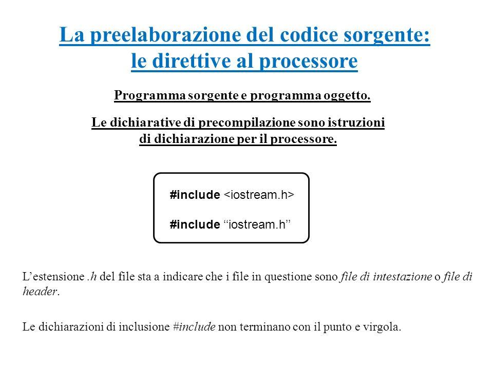 La preelaborazione del codice sorgente: le direttive al processore