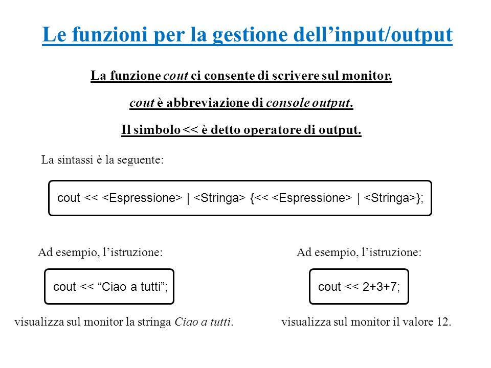Le funzioni per la gestione dell'input/output