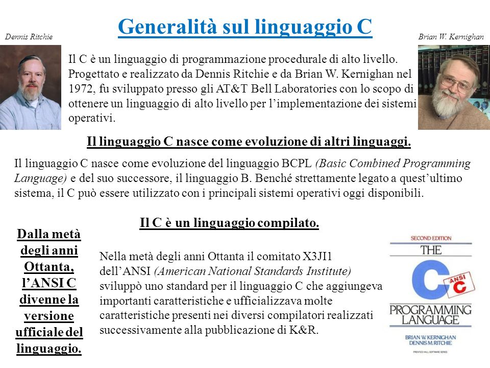 Generalità sul linguaggio C