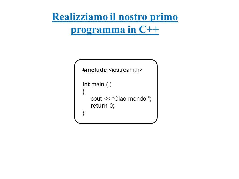 Realizziamo il nostro primo programma in C++