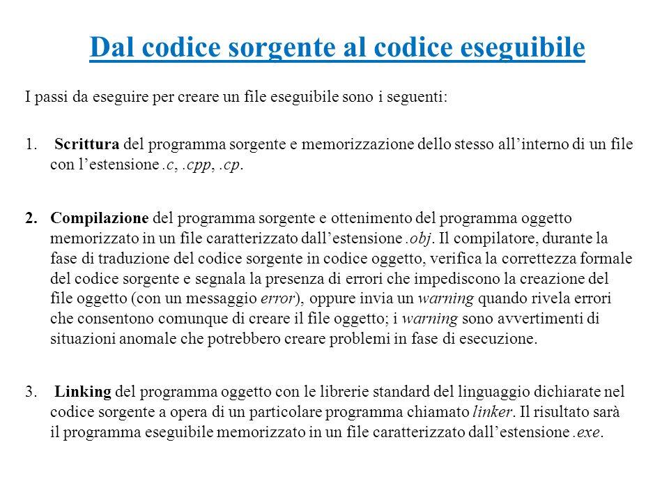 Dal codice sorgente al codice eseguibile