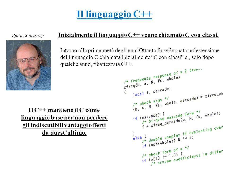 Inizialmente il linguaggio C++ venne chiamato C con classi.