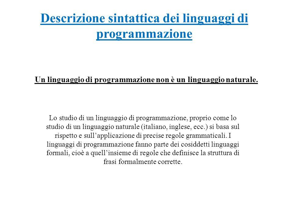 Descrizione sintattica dei linguaggi di programmazione