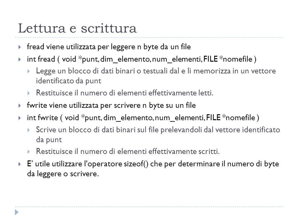 Lettura e scrittura fread viene utilizzata per leggere n byte da un file. int fread ( void *punt, dim_elemento, num_elementi, FILE *nomefile )