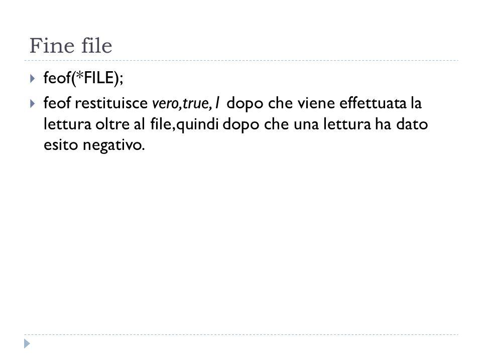 Fine file feof(*FILE);
