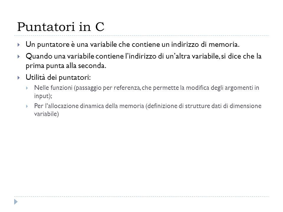 Puntatori in CUn puntatore è una variabile che contiene un indirizzo di memoria.