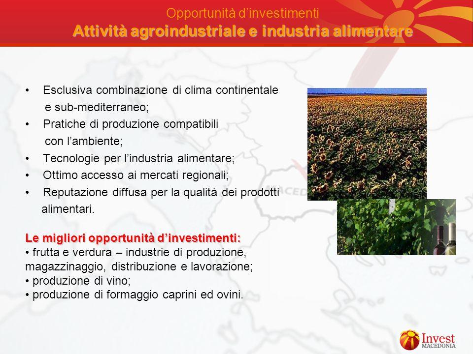 Opportunità d'investimenti Attività agroindustriale e industria alimentare