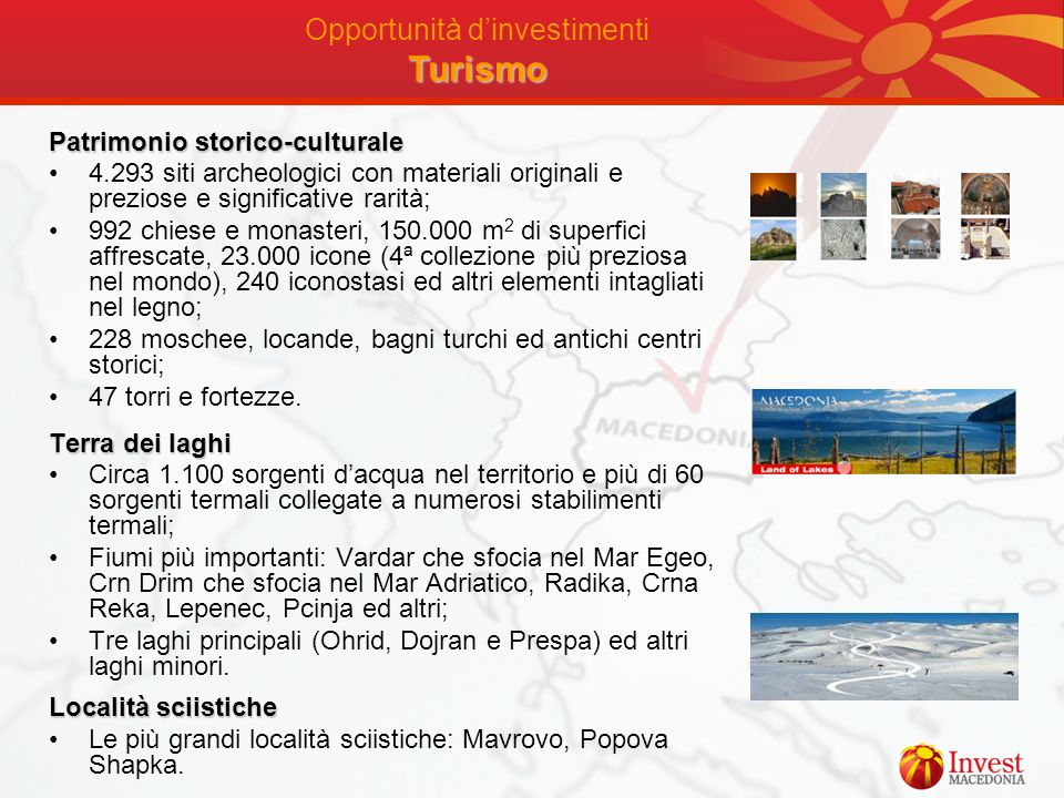 Opportunità d'investimenti Turismo