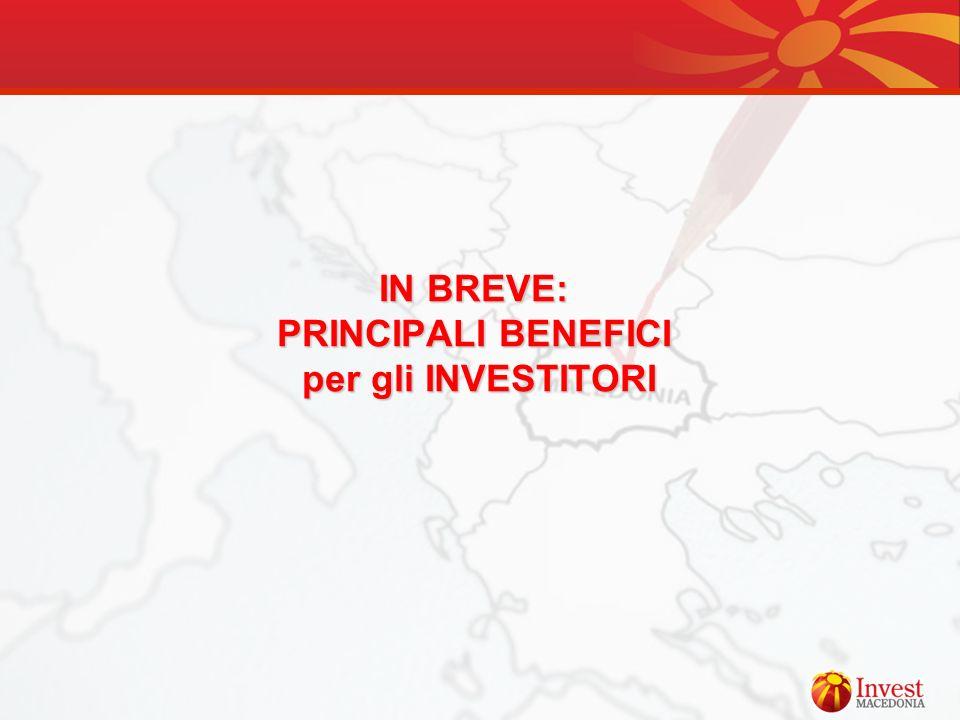 IN BREVE: PRINCIPALI BENEFICI per gli INVESTITORI
