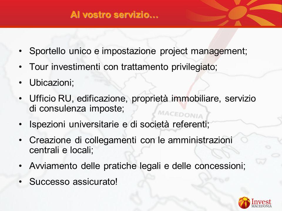 Al vostro servizio… Sportello unico e impostazione project management; Tour investimenti con trattamento privilegiato;