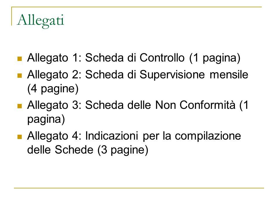 Allegati Allegato 1: Scheda di Controllo (1 pagina)