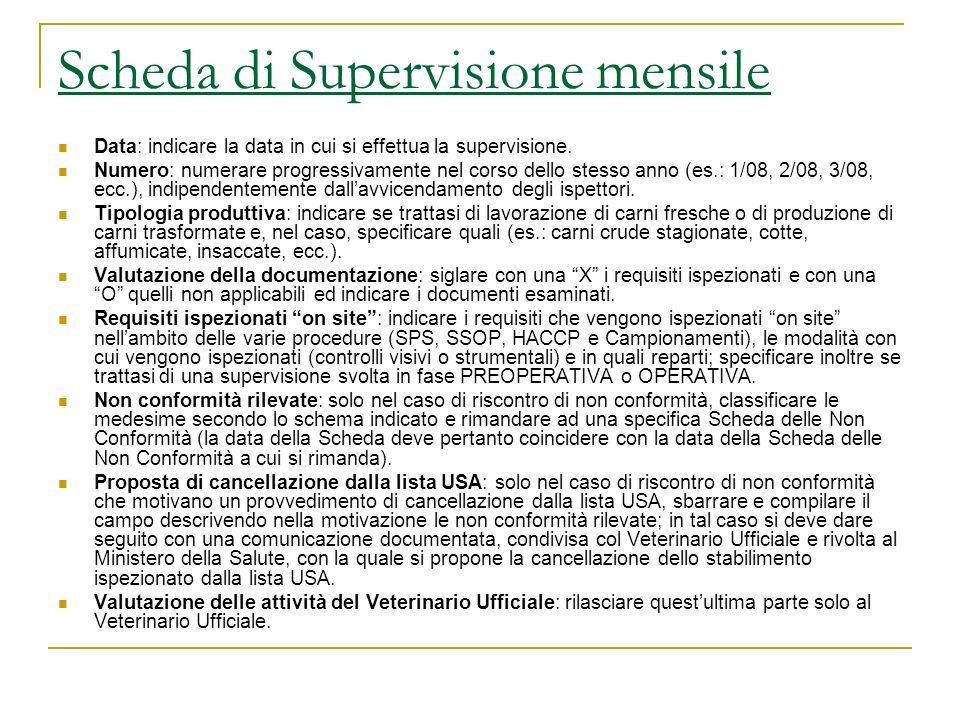 Scheda di Supervisione mensile
