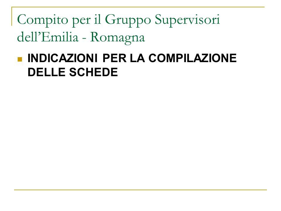 Compito per il Gruppo Supervisori dell'Emilia - Romagna