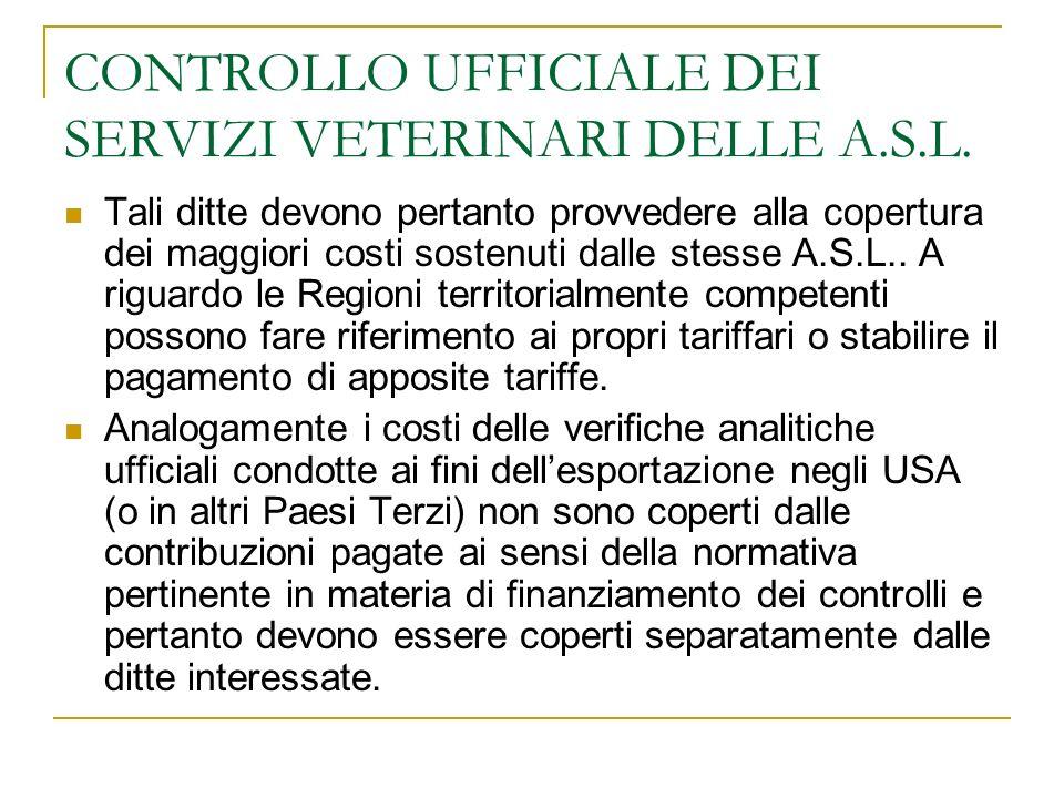CONTROLLO UFFICIALE DEI SERVIZI VETERINARI DELLE A.S.L.