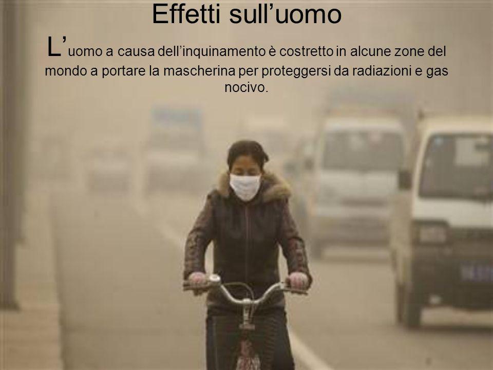 Effetti sull'uomo L'uomo a causa dell'inquinamento è costretto in alcune zone del mondo a portare la mascherina per proteggersi da radiazioni e gas nocivo.