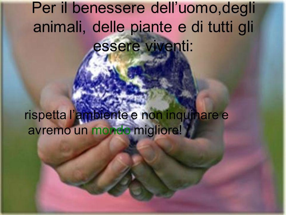 Per il benessere dell'uomo,degli animali, delle piante e di tutti gli essere viventi: