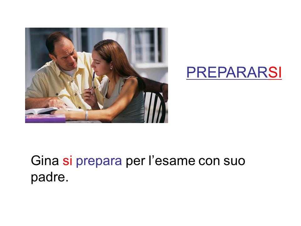 PREPARARSI Gina si prepara per l'esame con suo padre.