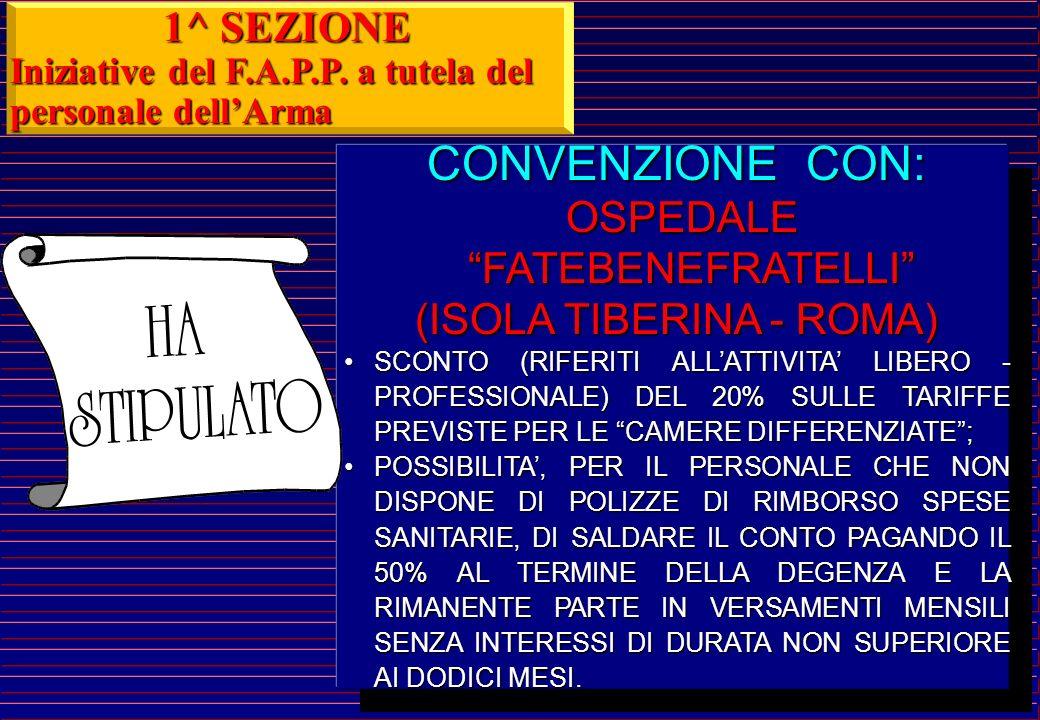 CONVENZIONE CON: 1^ SEZIONE OSPEDALE FATEBENEFRATELLI