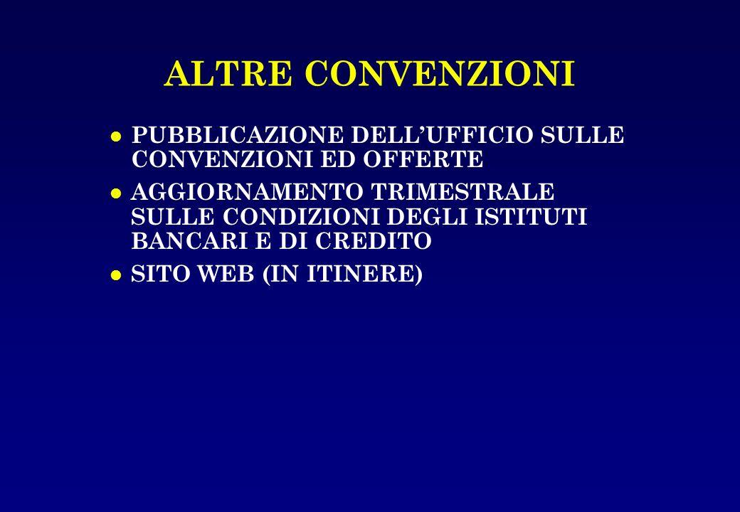 ALTRE CONVENZIONI PUBBLICAZIONE DELL'UFFICIO SULLE CONVENZIONI ED OFFERTE.