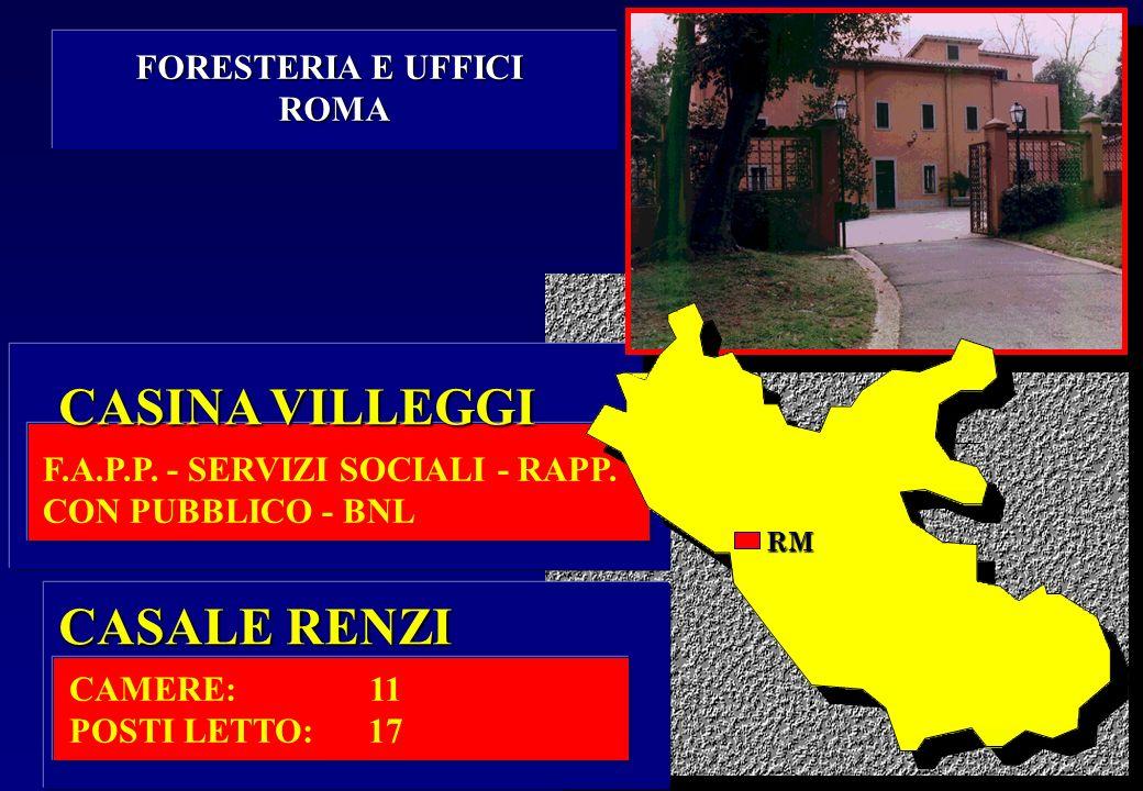 CASINA VILLEGGI CASALE RENZI FORESTERIA E UFFICI ROMA