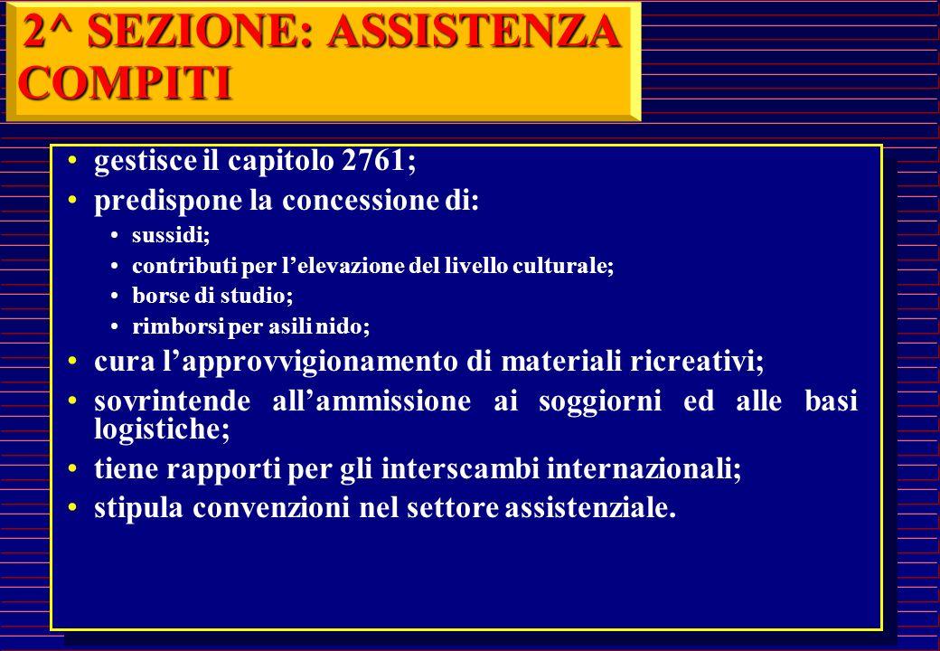 2^ SEZIONE: ASSISTENZA COMPITI gestisce il capitolo 2761;