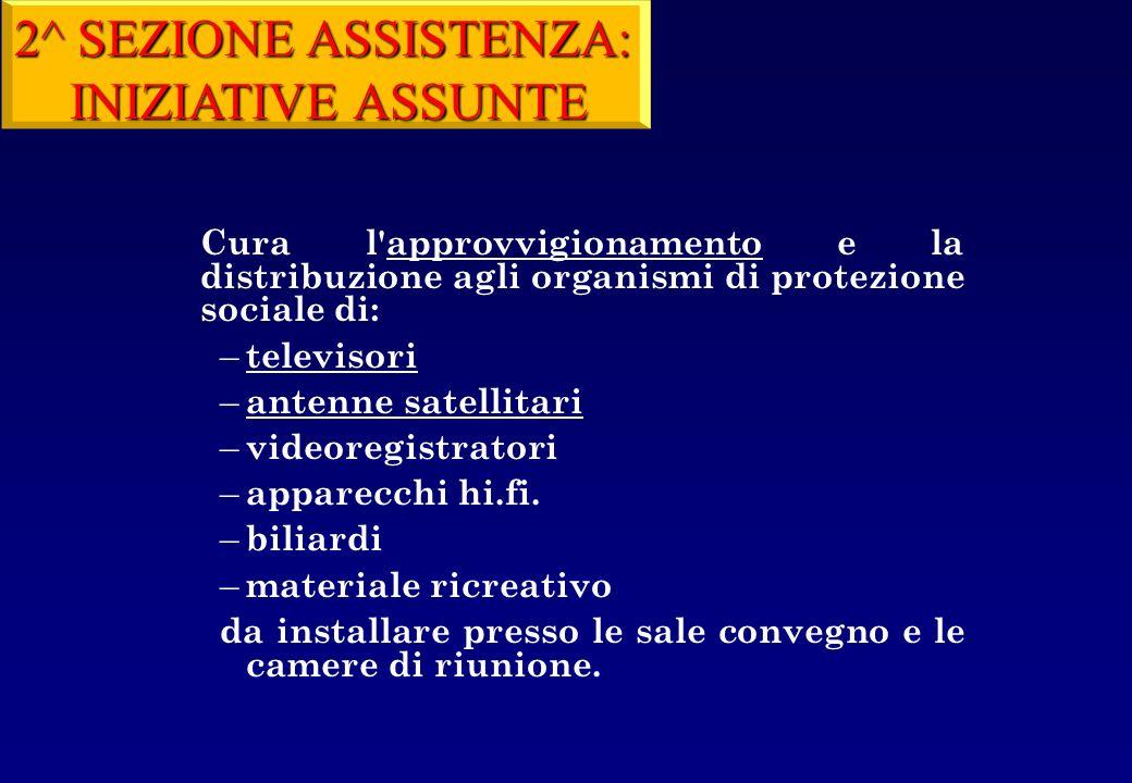 2^ SEZIONE ASSISTENZA: INIZIATIVE ASSUNTE televisori