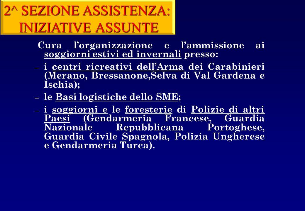 2^ SEZIONE ASSISTENZA: INIZIATIVE ASSUNTE