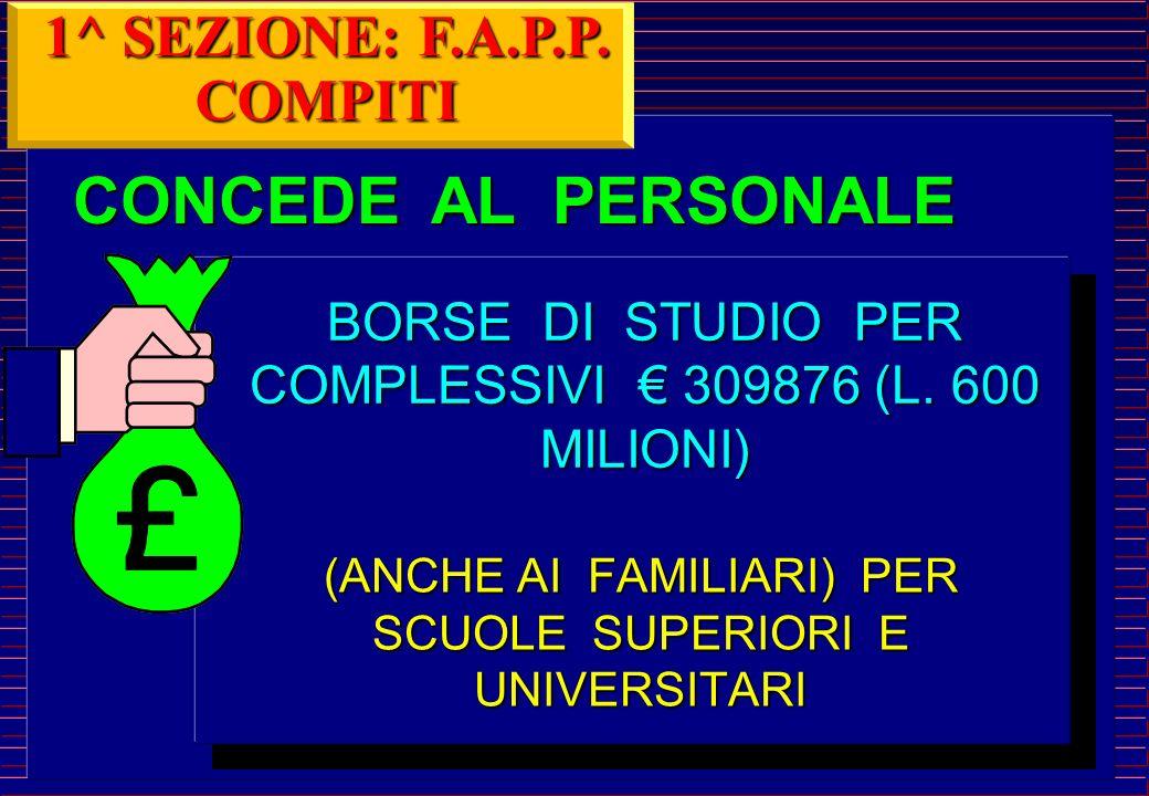 CONCEDE AL PERSONALE 1^ SEZIONE: F.A.P.P. COMPITI