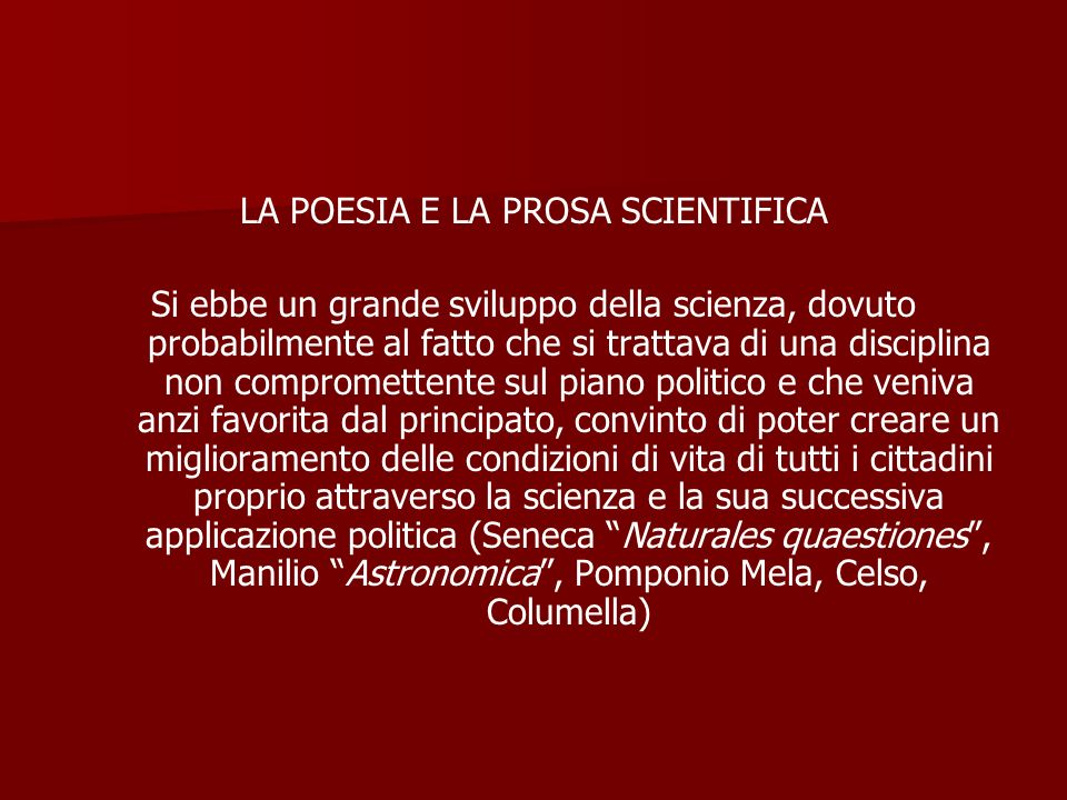 LA POESIA E LA PROSA SCIENTIFICA