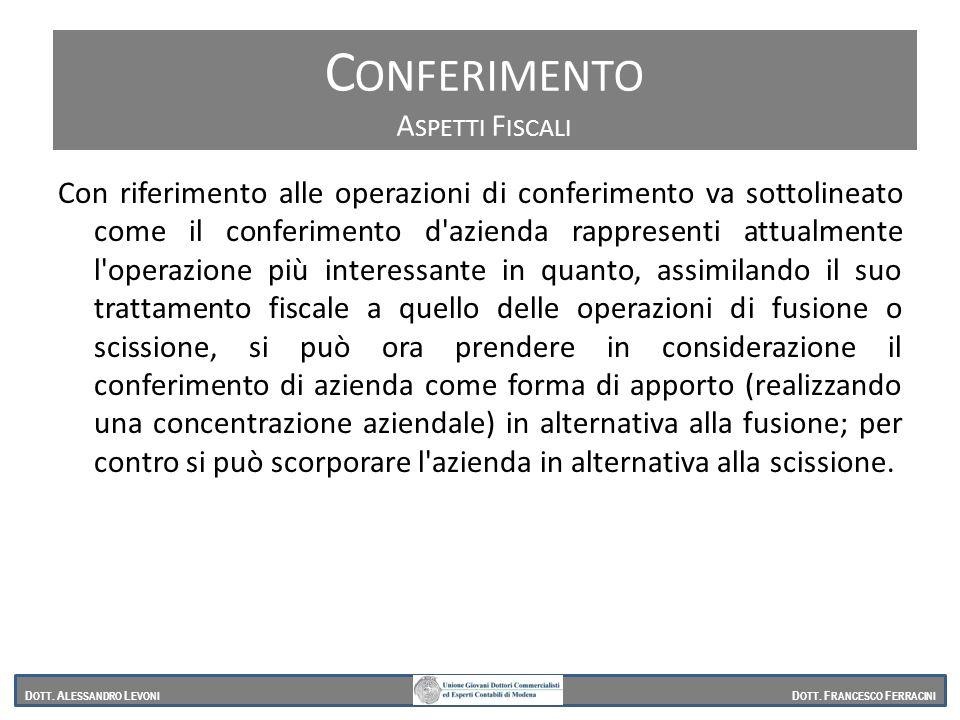 Conferimento Aspetti Fiscali