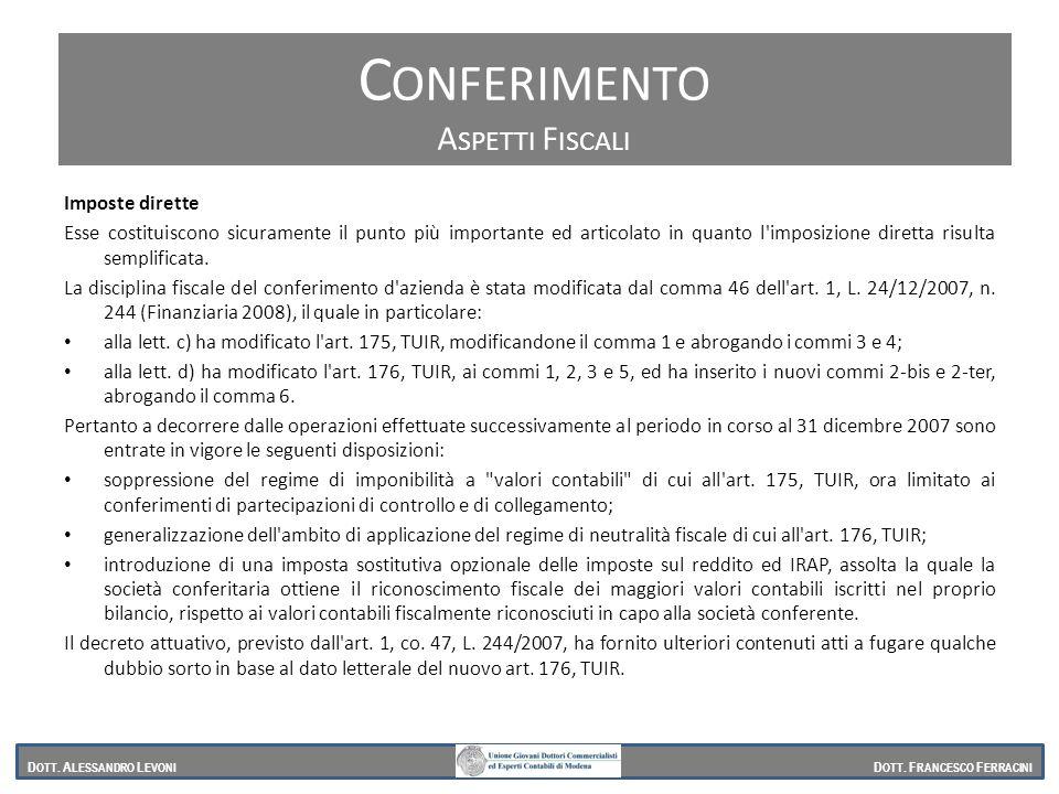 Conferimento Conferimento Aspetti Fiscali Imposte dirette