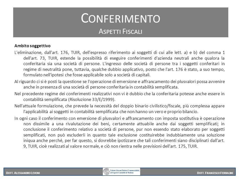 Conferimento Conferimento Aspetti Fiscali Ambito soggettivo