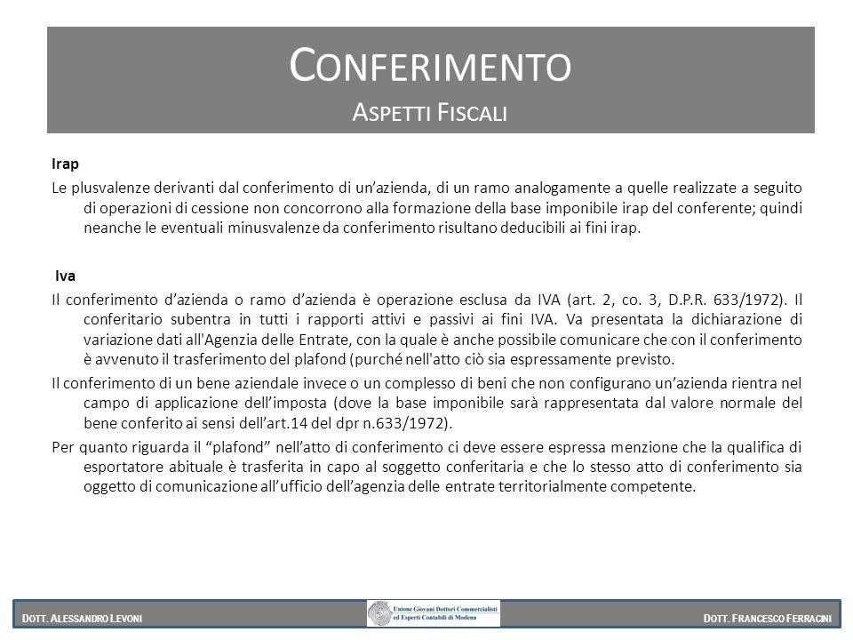 Conferimento Conferimento Aspetti Fiscali Irap