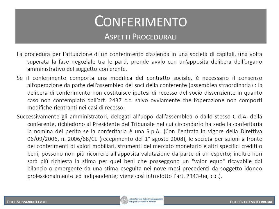 Conferimento Aspetti procedurali Aspetti Procedurali