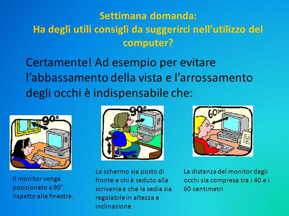 Settimana domanda: Ha degli utili consigli da suggerirci nell'utilizzo del computer
